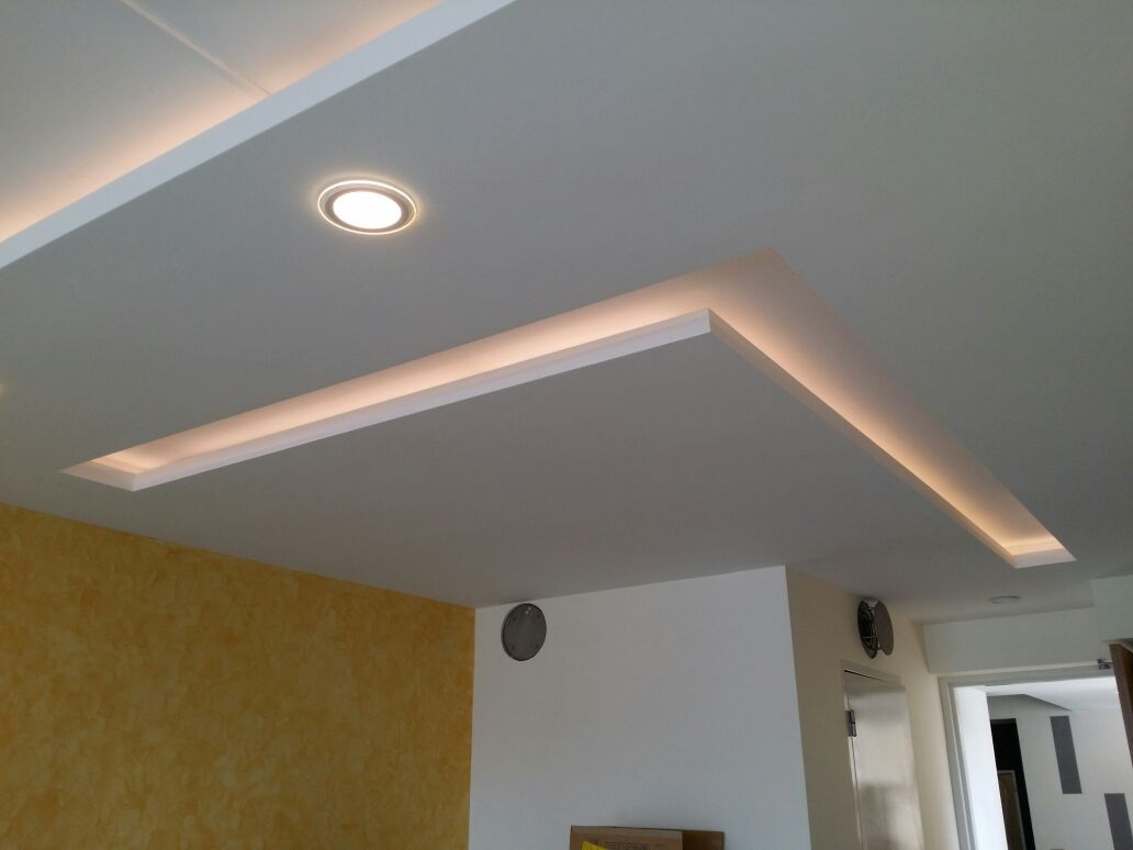 False ceilings l box partitions lighting holders for Ceiling light design